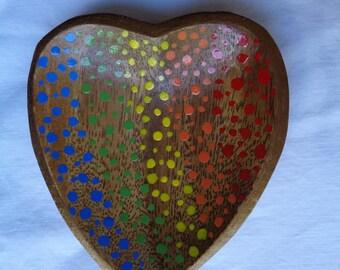 Jewelry Dish - Catch All Dish - Ring Dish - Wood Jewelry Dish - Hand Painted Jewelry Dish - Heart Dish - Hand Painted Wooden Jewelry Dish