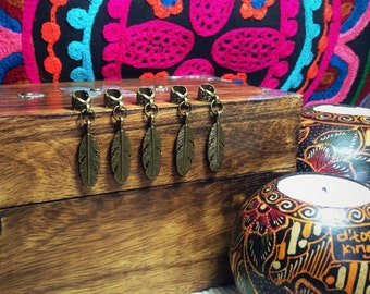 5 Dreadlock Beads featuring Feather Charms | Filigree Bronze Toned Metal, 6mm Hole Size
