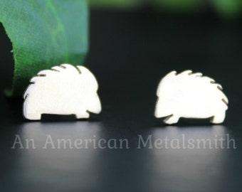 Sterling Silver Hedgehog Earrings, Hedgehog Jewelry, Porcupine Jewelry, Hedgehog Accessories, Animal Earrings, Silver Stud Earrings, Gift