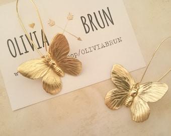 Butterfly Earrings Dangle Butterfly Earrings Gold Butterfly Earrings Drop Earrings