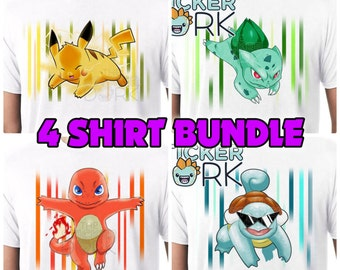 BUNDLE 4 Pokemon T-Shirts Pokemon 20th Anniversary (Art by Patrick Towers) Pikachu, Bulbasaur, Charmander, Squirtle