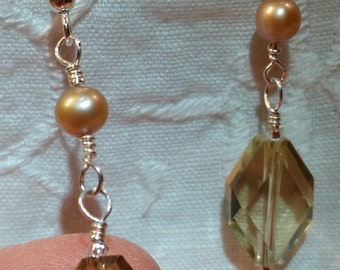 Citrine Faceted Drop Dangle with Champagne Freshwater Pearl in Sterling Silver