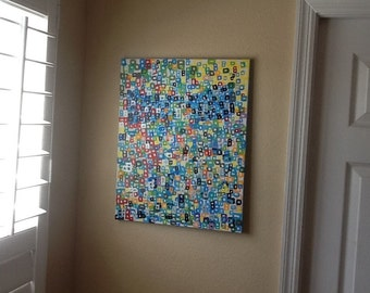 Punchy...Abstract painting, original painting,acrylics and enamels on canvas 16x20