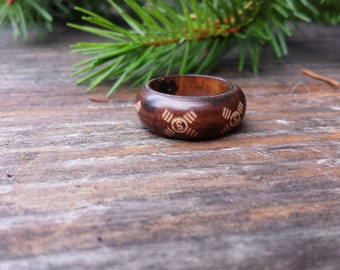 Wooden I Ching RIng