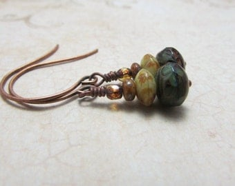 Czech Glass Picasso Beads and Antique Copper Earrings