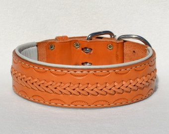 Tooled Leather Buckle Collar with Lacing and Hand Stitched Rolled Edge Liner #166