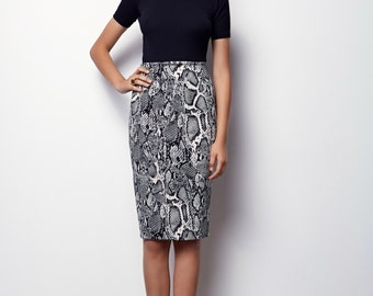 Midi Pencil Skirt, Snake print Skirt, Black & white print skirt - Anabel - SIZES : S,M,L