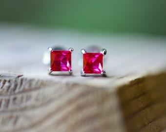 Ruby Earrings Ruby Stud Earrings Sterling Silver Stud Earrings Tiny Ruby Stud Earrings Genuine Ruby Earrings Ruby Jewelry July Birthstone