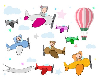 SALE! Baby PLANES Clipart Airship Clip Art Dirigible Aircraft Hot Air Balloon PNG Images Airplane Plane Printable Instant Download