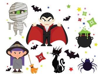 SALE! HALLOWEEN Digital Clipart Dracula Mummy Bat Clip Art Scrapbooking Invitations Happy Halloween Printable Digital Graphics png 300 dpi