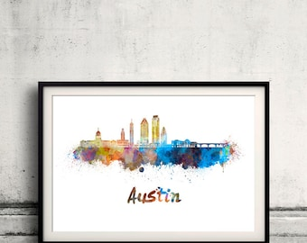 Austin skyline in watercolor over white background with name of city - Poster Wall art Illustration Print - SKU 2074