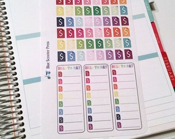 HE102M// Bills To Pay Planner Stickers. 51 MATTE stickers.