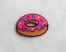 Pink Strawberry Doughnut Iron on Patch(S) - Donut Applique Embroidered Iron on Patch Size 3.4x2.5 cm