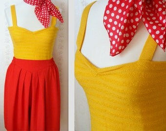 Pretty Vintage Summer Knitted Yellow Top / Sunflower size S- M