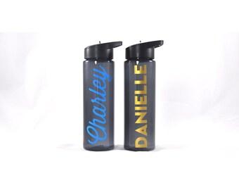 Personalized Sport Bottle - Slate, Custom Water Bottle, Personalized Water Bottle Grey