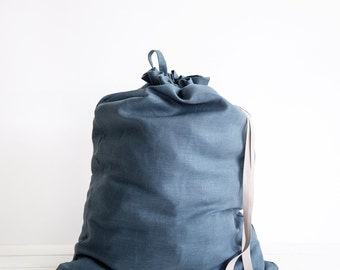 Linen canvas laundry bag - Large linen laundry bag - Large blue clothes bag - Natural linen drawstring Bag