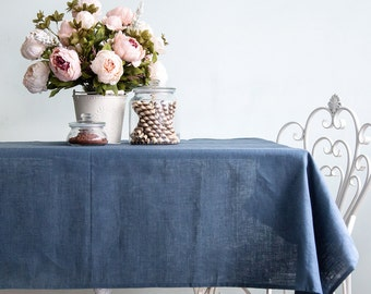 Blue Linen Tablecloth   Natural Linen Wedding Tablecloth   All Sizes  Tablecloth