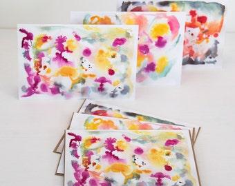 Abstract notecard assortment, set of bright notecards, thank you cards, blank notecard set, A6 abstract greeting cards set, kraft envelopes