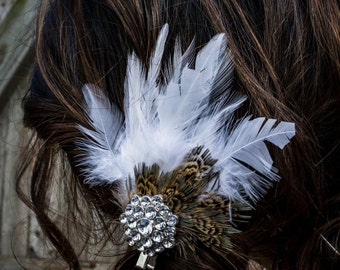 Bridal Feather Hair Clip with Crystal Jeweled Piece
