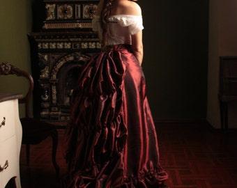 Victorian Burgundy Skirt, 1880s Taffeta Petticoat, Bustle Underwear