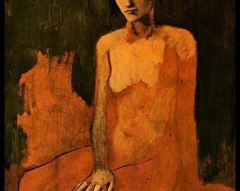 "Picasso, Pablo Picasso Print, Picasso Art Print, Picasso Paintings,""Sitzende Frau"", Circa 1905, Vintage Book Page Print"