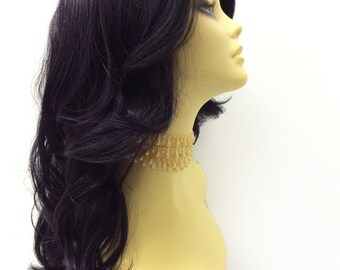 Long 20 inch Lace Front Purple & Black Wig with Premium Heat Resistant Fiber. Long Wavy Fashion Wig.