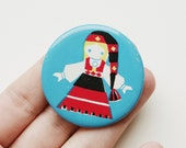 Vintage Soviet era tin pin pinback button medallion cordon badge token folk clothing folklore European brooch