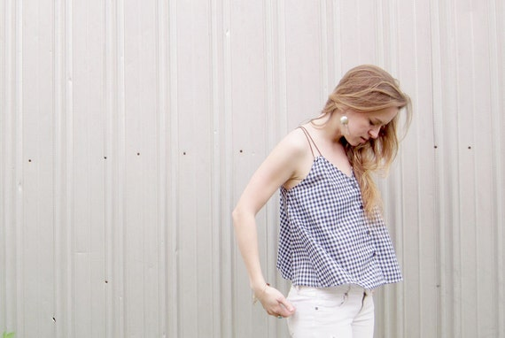 Sustainable Fashion Crop Top Gingham Tank Summer Swing Top Flowy Top Cropped Tank Black and White Eco Friendly Button Tank Fashion under 50