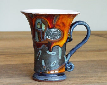 Unique Pottery Mug. Tea or Coffee Mug, Cute Ceramic Mug, Hand thrown and Hand painted Pottery, Ceramic Art, Danko Pottery