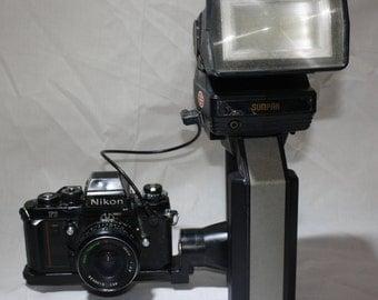 Nikon F3 HP 35mm Film Camera with Lens and Sunpak Flash