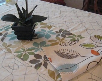 """Contemporary and Primitive Table Runner - 34"""" Table Runner -  Reversible Table Runner - Floral Table Runner"""