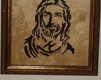 Jesus Christ  Portrait Scroll Saw Art in a Golden Frame