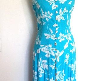 Cageback dress, M, Hawaiian dress, blue dress, summer dress, Hawaiian print dress, turquoise dress, rayon dress