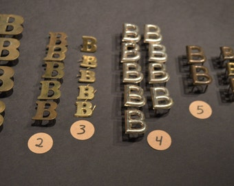 Vintage Solid Brass and Nickel Harness Letters - B