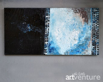 10x20 Blue and black abstract painting - black and blue minimalist art, geometric art, coastal decor coastal wall art white blue black brown