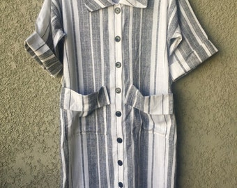 Grey and white striped pocketed dress