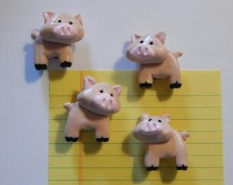 Set of 4 Handmade Pig Pork Magnets, Made of Polymer Clay