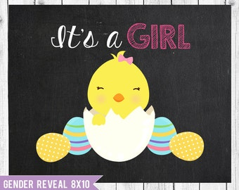 Easter gender reveal, It's a girl pregnancy announcement, pregnancy chalkboard, Easter Photo Prop, Instant Download JPEG Printable