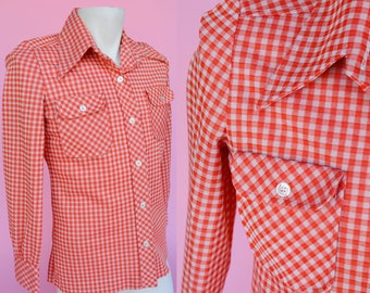 Retro, Red Gingham Print, 70s Shirt // Vintage 1970s, Unisex Button Up, Oxford Shirt, Size Small, Medium