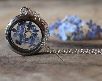 Forgetmenot necklace, forget me not locket, myosotis necklace, forgetmenots, memory locket