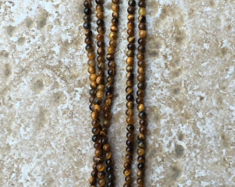 "Tigereye Beads - Teeny Tiny 2.5mm round Tigereye Beads, perfect for accent beads - FULL 16"" strand (about 164 beads) - G408"