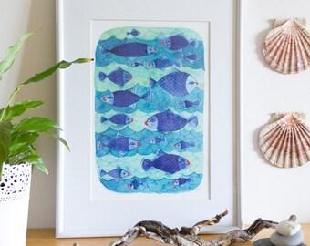 Blue Watercolor Fish Poster, Blue Watercolour Fish Print, Cute Fish Kids Nursery Poster, Affiche de Poisson Bleu en Aquarelle