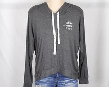 New York City- Womens Hoodie Sweatshirt, Grey, Womens Street Style, Brandy Melville, Hipster, Active Wear, Tumblr, Lazy, Fast Shipping