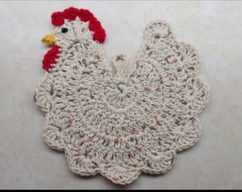 Crochet Chicken Potholder pattern (For Decoration Purpose Only)