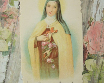 Vintage ST. THERESE of LISIEUX Holy Card from France Die cut 1940's