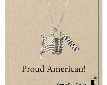 "Sterling Silver US ""Army"" with American Flag Pendant Necklace"