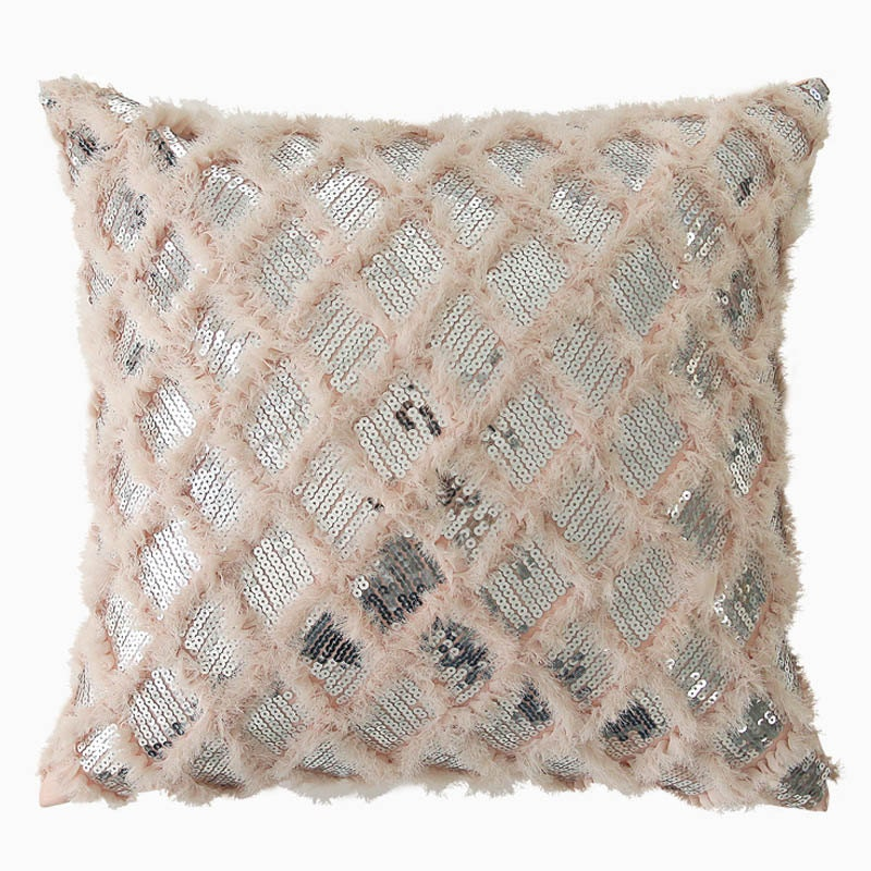 "Coral Pink Fringes with Silver Sequins Square Accent Throw Pillow Cushion 18"" X 18"""