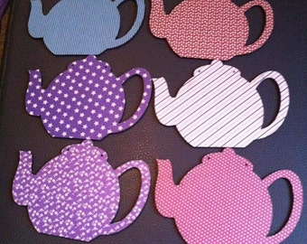 Teapot bunting - Tea Party, Alice In Wonderland inspired - set of 10