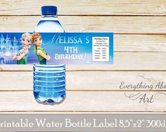 Frozen water bottle label, Frozen birthday, Frozen water bottle label, Frozen bottle wrap, printable water bottle labels