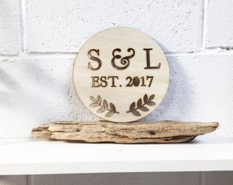 Personalised Couples Initials Circular Plaque - Wedding, Anniversaries, Gifts